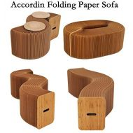 Ihpaper AlienTech Home Furniture Softeating Modern Design Accordin Folding Paper Stool Sofa Chair Kraft Paper Relaxing Foot Stool-Fashion Paper Design, Ideal School, Kitchen,Living & Dinin