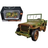 US Army WWII Jeep Vehicle Military Police Green Weathered Version 118 Diecast Model Car by American Diorama 77406A