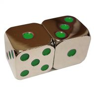 Azty Solutions Pack of 2 Metal Polyhedral 15mm 6 Sided Dice with Green Spots in Snow Organza Bag