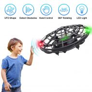 BOMPOW Flying Toys Drones for Kids, 2019 Improved Flying Ball Drone Toy with Infrared Sensor Auto-Avoid Obstacles 360°Rotating LED Light, Mini Quadcopter Hand Operated Drones for Boys or
