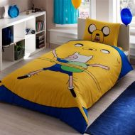 Bekata Adventure Time Bedding Set, Kids Quilt/Duvet Cover Set Single/Twin Size, Yellow Blue, with Fitted Sheet, Made in Turkey (3 PCS)