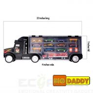 Big-Daddy Toy Truck Super Mega Extra Large Tractor Trailer Car Collection Case Carrier Transport Toy Truck For Kids Includes 12 Cars 1 Small Tractor Trailer & 6 More Accessories