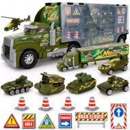 Big-Daddy Kids Toy Truck Transport Truck Military Toy Truck with Lights and Sound Emergency Quick Release Effect
