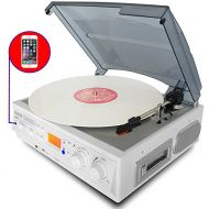 Boytone BT-37WT-C White Color Limited Edition 3-Speed Stereo Turntable, 2 Built-In Speakers, LCD Dis