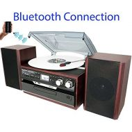 8-in-1 Boytone BT-24DJM Turntable with Bluetooth Connection, 3 Speed 33, 45, 78 Rpm, CD, Cassette Player AM, FM USB, SD Slot, Aux, Encoding Vinyl & Radio & Cassette To-MP3, Remote