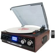 Boytone BT-17DJM 3-speed Stereo Turntable, 2 Built in Speakers Digital LCD Display AMFM Radio, USBSD Slot, AUX+ MP3 & WMA Playback Recorder & Headphone Jack + Remote Control