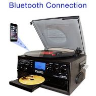 Boytone BT-22B, Bluetooth Record Player Turntable, AMFM Radio, Cassette, CD Player, 2 built in speaker, Ability to convert Vinyl, Radio, Cassette, CD to MP3 without a computer, SD