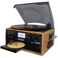 Boytone BT-22W, Bluetooth Record Player Turntable, AMFM Radio, Cassette, CD Player, 2 Built in Speaker, Ability to Convert Vinyl, Radio, Cassette, CD to MP3 Without a Computer, SD