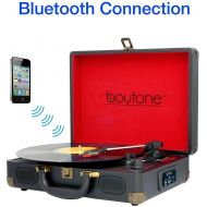 Boytone BT-101B Bluetooth Turntable Briefcase Record player AC-DC, Built in Rechargeable Battery, 2 Stereo Speakers 3-speed, LCD Display, FM Radio, USBSD Slot, AUX  MP3, Encoding