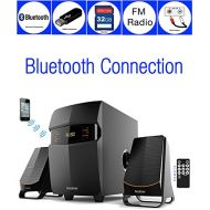 Boytone BT-3685F, Wireless Bluetooth 2.1 Multimedia Powerful Bass System with FM Radio, Remote Control, Aux Port, USB SD Slot MMC Audio for Phones, Tablets, Music and Movies., bl