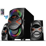 Boytone BT-326F, 2.1 Bluetooth Powerful Home Theater Speaker System, with FM Radio, SD USB Ports, Digital Playback, 40 Watts, Disco Lights, Full Function Remote Control, for Smartp