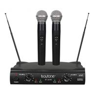 Boytone BT-42VM Dual Channel Wireless Microphone System - VHF Fixed Dual Frequency Wireless Mic Receiver, 2 Handheld Dynamic Transmitter Mics, for Karaoke, Dj, Church, Conference,