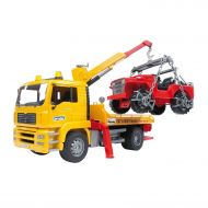Bruder Toys MAN TGA Flatbed Tow Truck w Crane Cross Country Vehicle | 02750