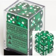 Chessex Dice d6 Sets: Green with White Translucent - 16mm Six Sided Die (12) Block of Dice (2-Pack)