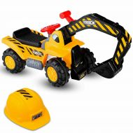 Costway Kids Toddler Ride On Excavator Digger Truck Scooter Seat Storage wSound&Helmet
