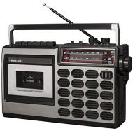 Crosley CT100B-SI Retro Portable Cassette Player with Bluetooth, AM/FM Radio, and Built-in Microphone, Silver