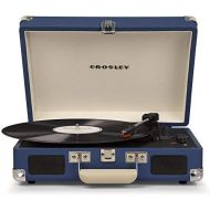 [아마존베스트]Crosley Cruiser Deluxe Vintage 3-Speed Bluetooth Suitcase Turntable, Blue