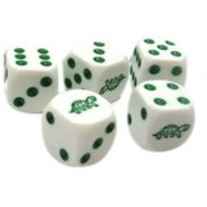 MySimple Products Custom & Unique 5 Ct Pack Set of 6 Sided [D6] Square Cube Shape Playing & Kids Game Dice Made of Plastic w Rounded Corner Edges w Cute Animals Gloss Turtle Pips Design [Green & W