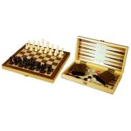 Da Vinci 3-in-1 Wood Combination Chess, Checkers, and Backgammon Game Set With a Folding Carrying Case