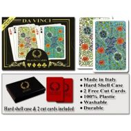 Da Vinci Fiori, Italian 100% Plastic Playing Cards, 2-Deck Set, WHard Shell Case & 2 Cut Cards; Choose from Poker Size Jumbo Index Bridge Size Regular Index