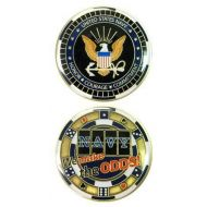 United States Military US Armed Forces USN Navy Gambling Chip We Make The Odds! - Good Luck Double Sided Collectible Challenge Pewter Coin by Eagle Crest
