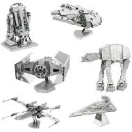 Fascinations Metal Earth 3D Model Kits Star Wars Set of 6 Millennium Falcon - R2-D2 - X-Wing Starfighter - AT-AT - Darth Vaders TIE Fighter - Imperial Star Destroyer