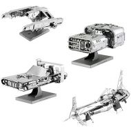 Fascinations Metal Earth 3D Metal Model Kits Star Wars Solo Set of 4 - Enfys Nests Swoop Bike - Hans Speeder - Imperial AT-Hauler - Molochs Landspeeder