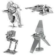 Fascinations Metal Earth 3D Model Kits Star Wars Set of 4 Snowspeeder - Imperial Shuttle - Slave 1 - AT-ST