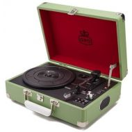 GPO SW196GRE Attache Portable USB Turntable with Speakers Green