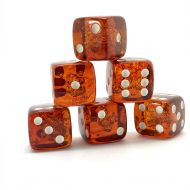 Generic x6 Proper size Amber Dice set for Board games and Gambling