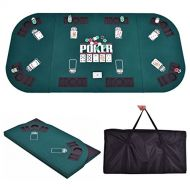 Giantex Gaintex Folding Poker Table Top Four Fold 8 Player Poker Table Top & Carrying Case Portable, Green