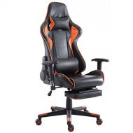 Giantex Gaming Chair Racing Chair High Back Reclining Lumbar Support, Headrest and Footrest Office Swivel Computer Task Desk Gaming Chair (Orange)