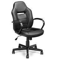 Giantex Gaming Chair Ergonomic Racing Style Chair Mid-Back Office Chair PU Leather Height Adjustable Computer Swivel Desk Chair with Breathable Cushion and Swivel Wheels (Black)