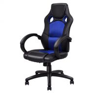 Giantex Gaming Chair Racing Chair High Back Bucket Seat Swivel Executive Office Computer Task Desk Gaming Chair (Blue)