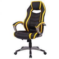 Giantex Gaming Chair High Back Racing Style Office Chair with Bucket Seat and Padded Armrests Height Adjustable Computer Desk Task Chair (Yellow & Black)