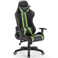 Giantex Gaming Chair Racing Reclining Chair w/Lumbar Support and Headrest, Adjustable Seat Height, Armrest &Padded High Back, 360-degree Swivel for Computer Task Desk Office Study