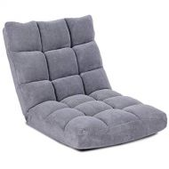 Giantex Floor Folding Gaming Sofa Chair Lounger Folding Adjustable Sleeper Bed Couch Recliner (Gray)