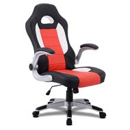 Giantex Ergonomic Gaming Chair High Back Leather Computer Executive Chair, Racing Style Bucket Seat Adjustable Swivel Chair, Office Desk Chair Video Game Chairs w/Armrest (Red)
