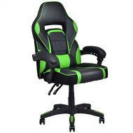 Giantex Gaming Chair Ergonomic High Back Computer Task Chair PU Leather Bucket Seat Swivel Home Office Desk Chair with Lumbar Support Racing Gaming Chair (Green)
