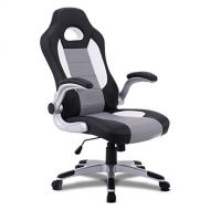 Giantex Ergonomic Gaming Chair High Back Leather Computer Executive Chair, Racing Style Bucket Seat Adjustable Swivel Chair, Office Desk Chair Video Game Chairs w/Armrest (Gray)