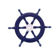 Hampton Nautical Deluxe Class Dark Blue Wood and Chrome Decorative Ship Steering Wheel 18 - ation