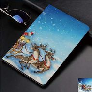 IPrint Case for iPad 2 iPad 3 iPad 4 TPU Leather Rotating Smart Stand Tablet Case for iPad 2/3/4,Sleigh with Reindeer and Toys in Snowy North Pole