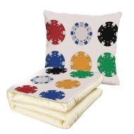 IPrint iPrint Quilt Dual-Use Pillow Poker Tournament Decorations Gambling Chips and Pair Cards Aces Casino Wager Games Hazard Multifunctional Air-Conditioning Quilt Multicolor