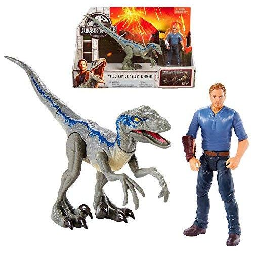 JWIF Jurassic World Fallen Kingdom Velociraptor Blue & Owen Posable Figure 3.75 2018