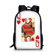 K0k2t0 School Bags Queen,Queen of Hearts Playing Card Casino Decor Gambling Game Poker Blackjack Deck,Red Yellow White for Boys&Girls Mens Sport Daypack