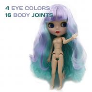 Katsu Retail Group Limited 4 Eye Colors Rainbow Hair BJD Doll 8 Joints Similar to Neo Blythe Doll Very Cute Pale Face Carved Lips