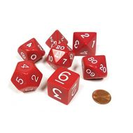 Koplow Games Red Jumbo Size 7 Pc Polyhedral Dice Set D4, D6, D8, 2xd10, D12, D20 by KOPLOW GAMES