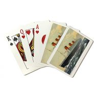 Lantern Press View of Cunard Ocean Liner Queen Mary - Vintage Advertisement (Playing Card Deck - 52 Card Poker Size with Jokers)