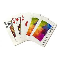 Lantern Press South Dakota - State Abstract Watercolor (Playing Card Deck - 52 Card Poker Size with Jokers)