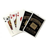 Lantern Press Wyoming State Pride - 307 - Gold on Black (Playing Card Deck - 52 Card Poker Size with Jokers)